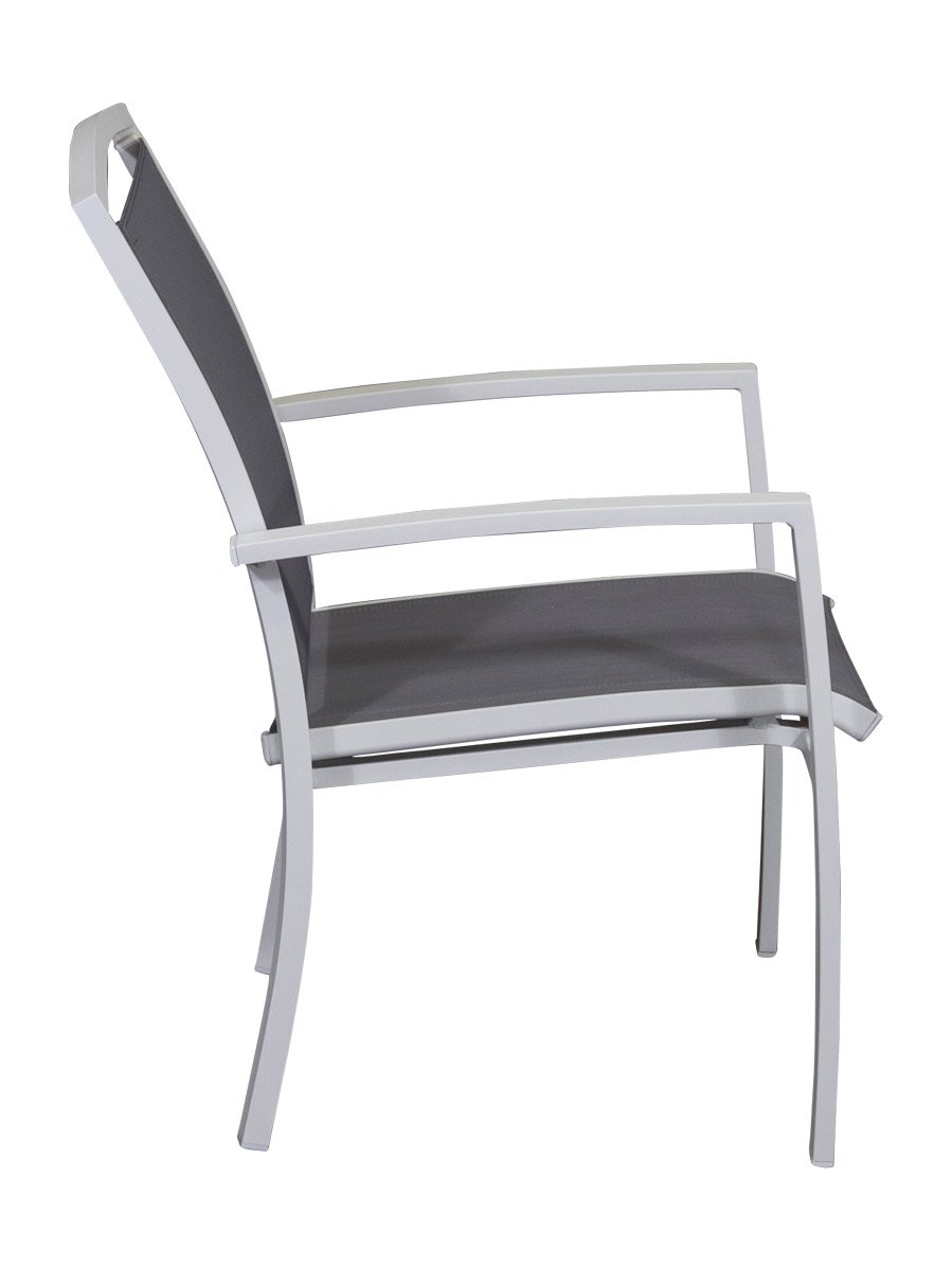 Lido Aluminium Dining Chair White Graphite Side