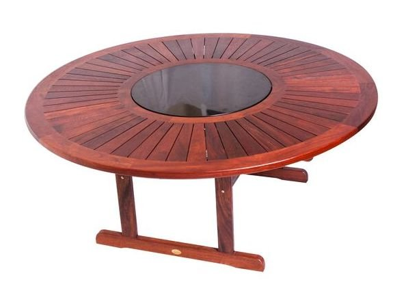 180cm Round Kwila Table And Marble Lazy Susan